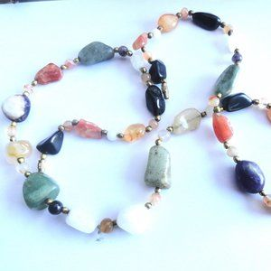 Precious Stone Necklace with Gold
